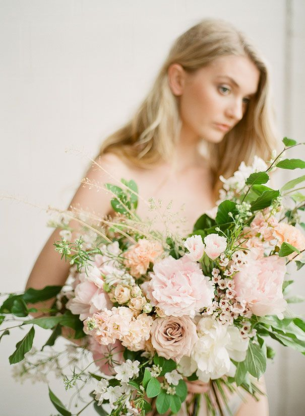Romantic garden-style bouquet with blush pink Peonies and Garden Roses. #wedding #flowers #pink