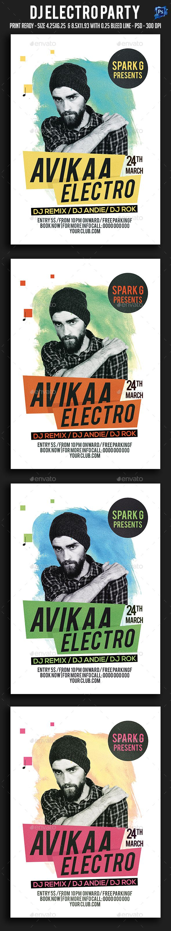 Dj Electro Party Flyer Template PSD