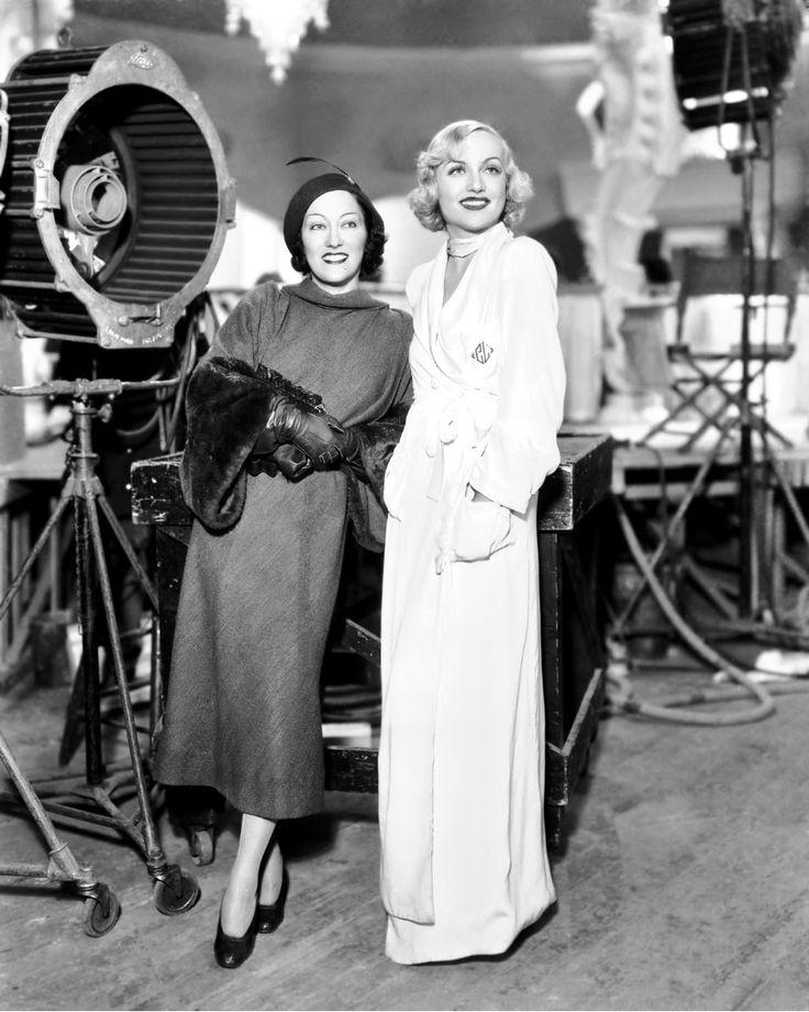 Gloria Swanson visits Carole Lombard at Paramount Studios, mid-1930s.