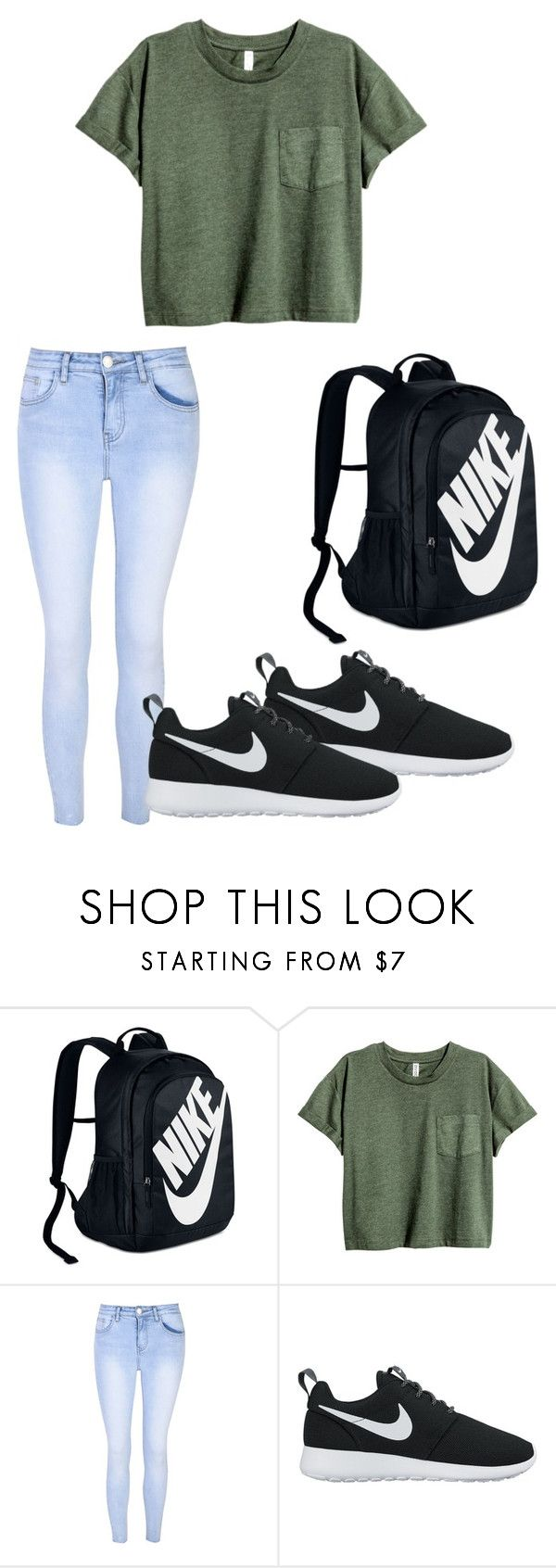 """School outfit"" by svdalen on Polyvore featuring mode, NIKE en Glamorous"