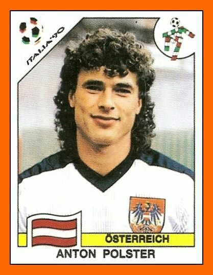 Anton Polster of Austria. 1990 World Cup card.