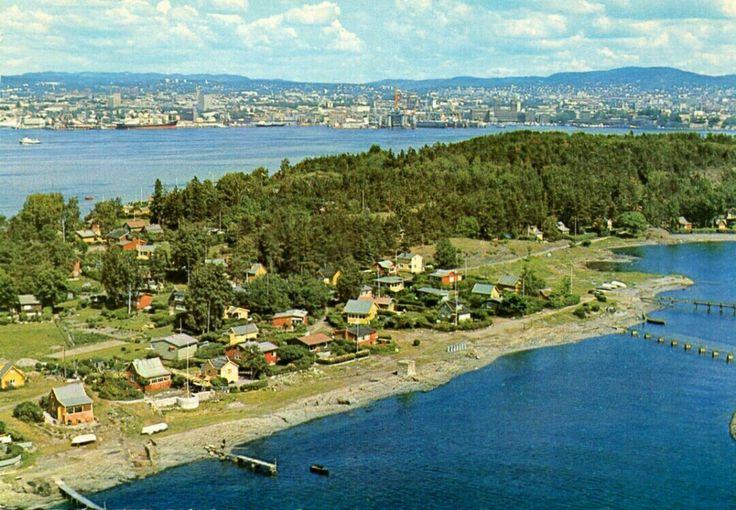 Oslo Lindøya i Oslofjorden flyfoto 1970-tallet