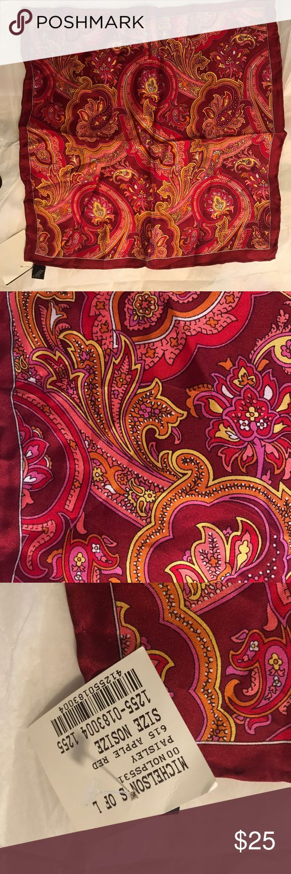 Michelson Silk Woven Pocket Paisley Red Square NWT Silk pocket square, paisley apple red Michelson's Accessories Pocket Squares