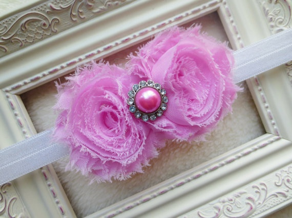 Bubblegum Pink Shabby Chic Headband with by HarperSophiaBoutique, $9.89