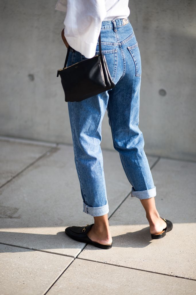 mom jeans with loafers