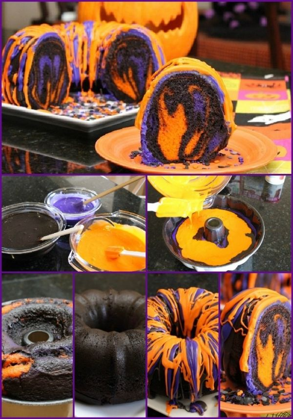 halloween torten gruselig bunt orange lila
