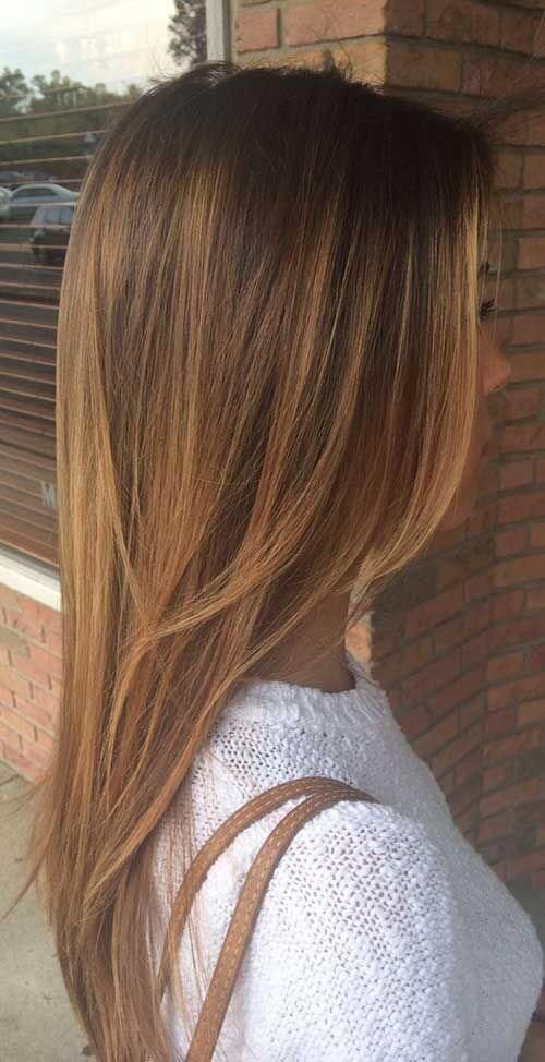 25 Best Hairstyle Ideas For Brown Hair With Highlights: straight brown layered hair with golden brown highlights ✖️