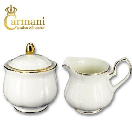 CARMANI - Creme Porzellan Zuckerdose und Milchkännchen mit Goldlinie Motiv