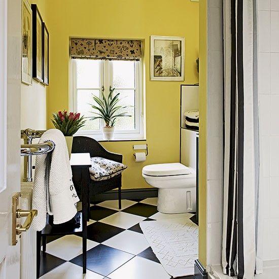 Yellow and monochrome bathroom | Bathroom decorating | 25 Beautiful Homes | housetohome.co.uk