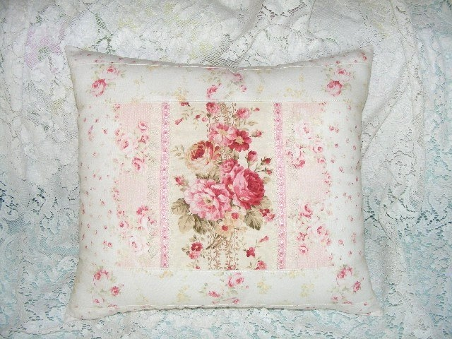 Shabby Chic  Pink Rose Pastel Cottage Toss Accent Decorative Pillow. $29.95, via Etsy.