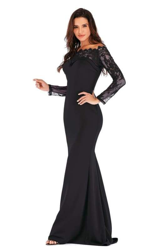 5778bb68ee1 Mermaid Off The Shoulder Long Lace Sleeves Black Evening Dresses in ...