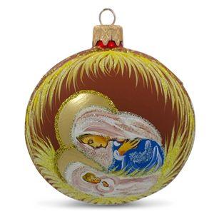 Mary Overlooking Jesus Christmas Nativity Religious Glass Ball Ornament Holiday Gift Idea