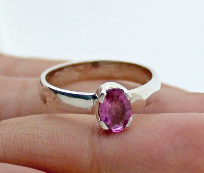 NATURAL PINK TOURMALINE GEMSTONE RINGS SOLID 925 STERLING SILVER JEWELRY US 6.5 #Unbranded