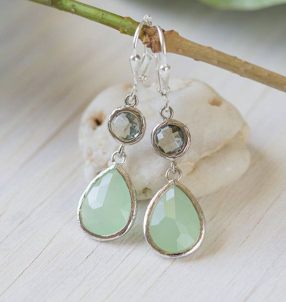 Mint Teardrop and Charcoal Jewel Drop Earrings in Silver.  Mint and Grey Bridesmaid Dangle Earrings. Jewelry Gift Her.  Free Shipping.