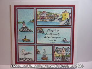 Handmade card by Martina Tidball. Hobby Art Harbour Village stamp set. Watercolours.