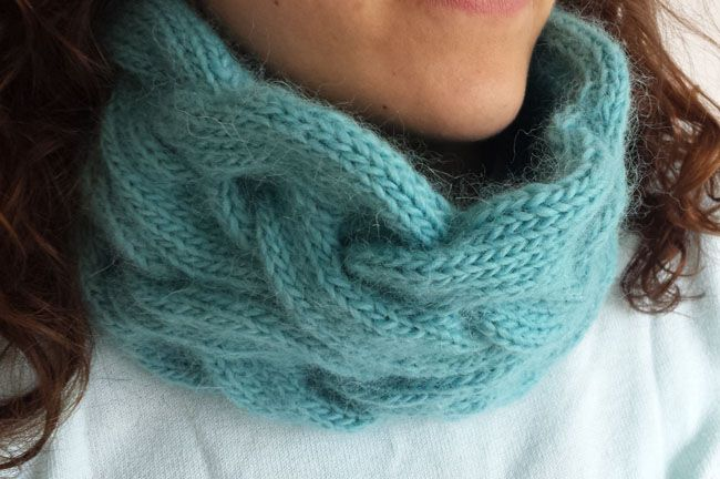 Knitting for beginners lesson three: a cable knit cowl made of Rowan Creative Focus Worsted, a wool/alpaca blend yarn.