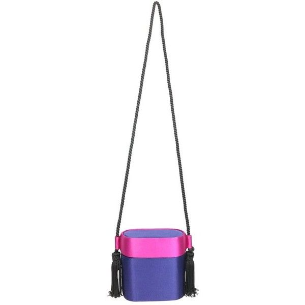 Preowned Escada Blue And Pink Silk Box Tassel Clutches Shoulder Bag ($680) ❤ liked on Polyvore featuring bags, handbags, pink, shoulder bags, shoulder bag purse, pink purse, white purse, hard clutch and box clutch