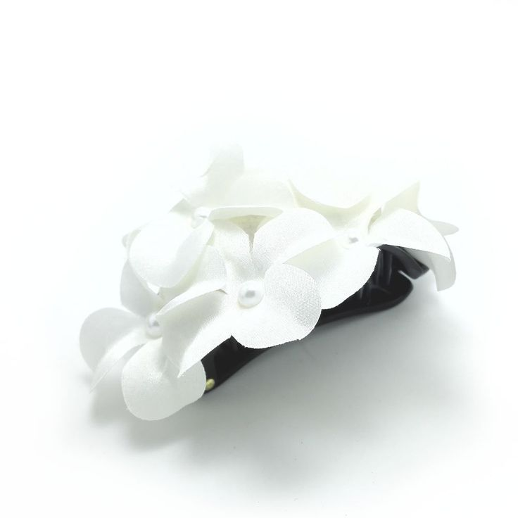 Meilliwish Flower Fabrics Ponytail Holder Banana Hair Clip (H29)(White) >>> Check out this great product. (This is an affiliate link and I receive a commission for the sales)