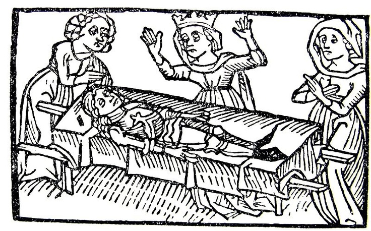 A woodcut from the legend Tristan and Isolde, (1484), Anton Sorg from Augsbourg.