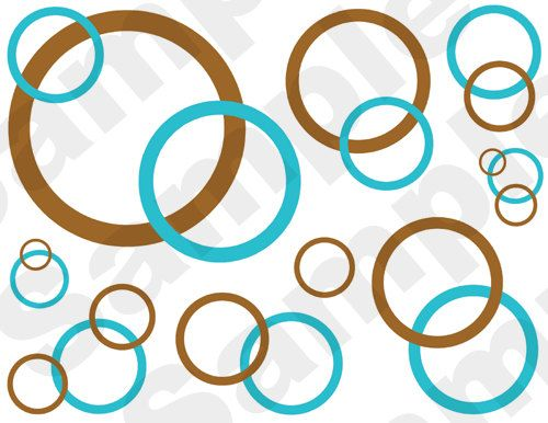 TURQUOISE BLUE BROWN bubbles circles wall border decals