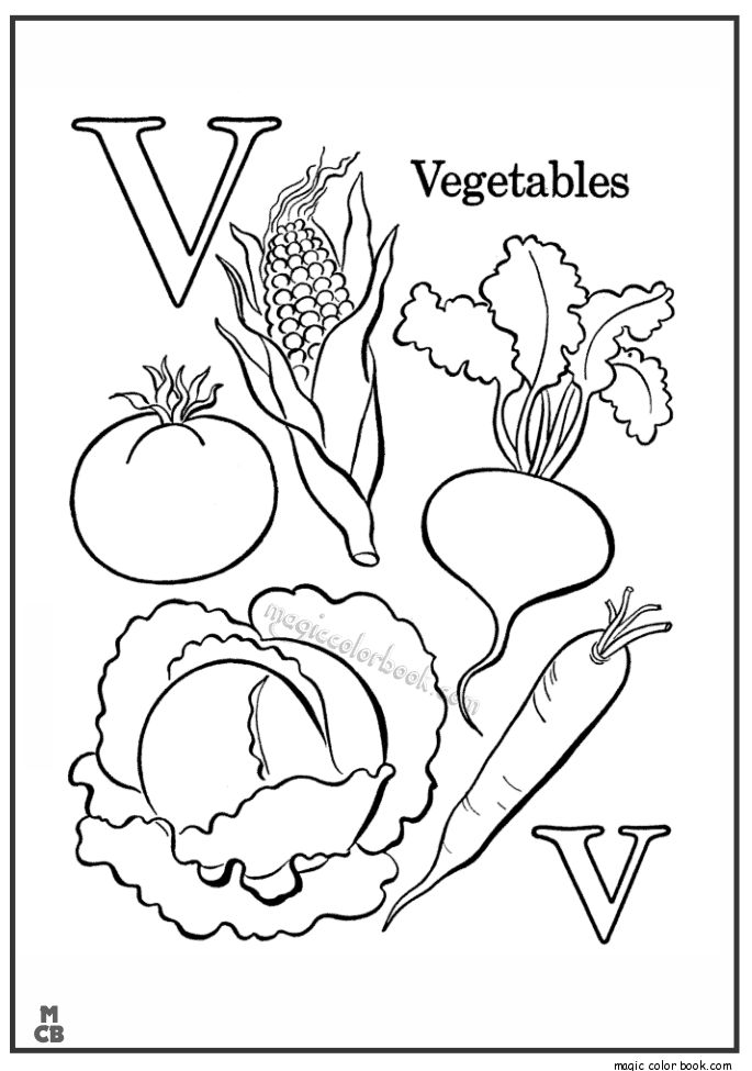 Alphabet V with picture coloring pages vegetables