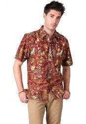 BATIK SEMAR  BATIK SEMAR Kemeja Batik Printing Lengan Pendek Merah