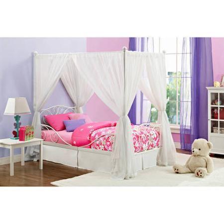 Canopy Twin Metal Bed, Multiple Colors - Walmart.com