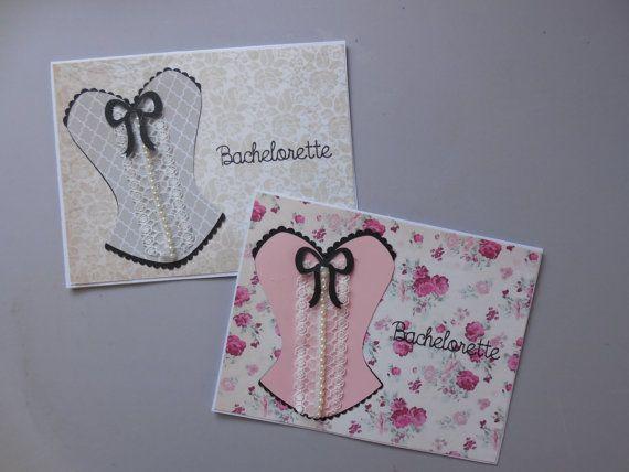 Bachelorette carte-Corset carte - Lingerie Party carte - partie de Bachelorette carte - Lingerie Party - dentelle et perles Bridal carte - carte de douche