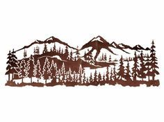 "84"" Mountain Scene with Pine Trees Metal Wall Art"