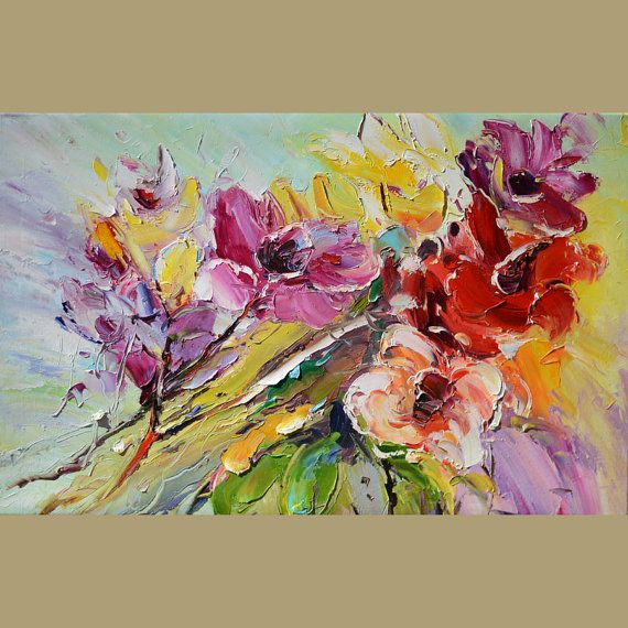 ORIGINAL Oil Painting If I didn't have you 23 x 36 Flowers Palette Knife White Bright Colorful Joy Red Purple Textured ART By MARCHELLA