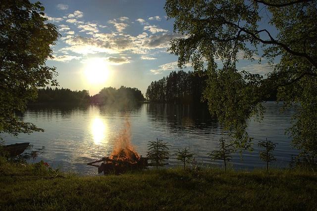 Midsummer bonfire in Finland