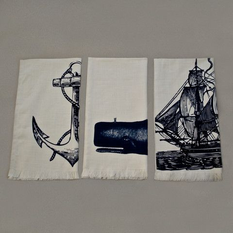 Anchor, Moby & Ship Print set of towels