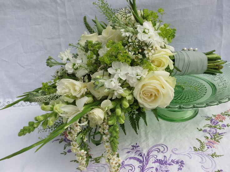 All White Autumnal, Hand Tied, Cascading Wedding Bouquet