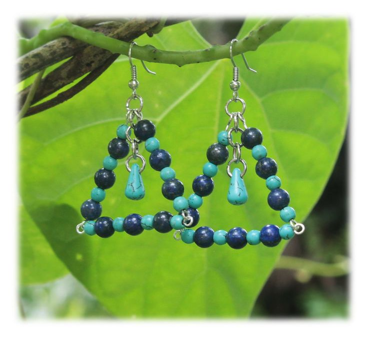 Triangle Dangles - dark-blue and turquoise by Malatichan on Etsy