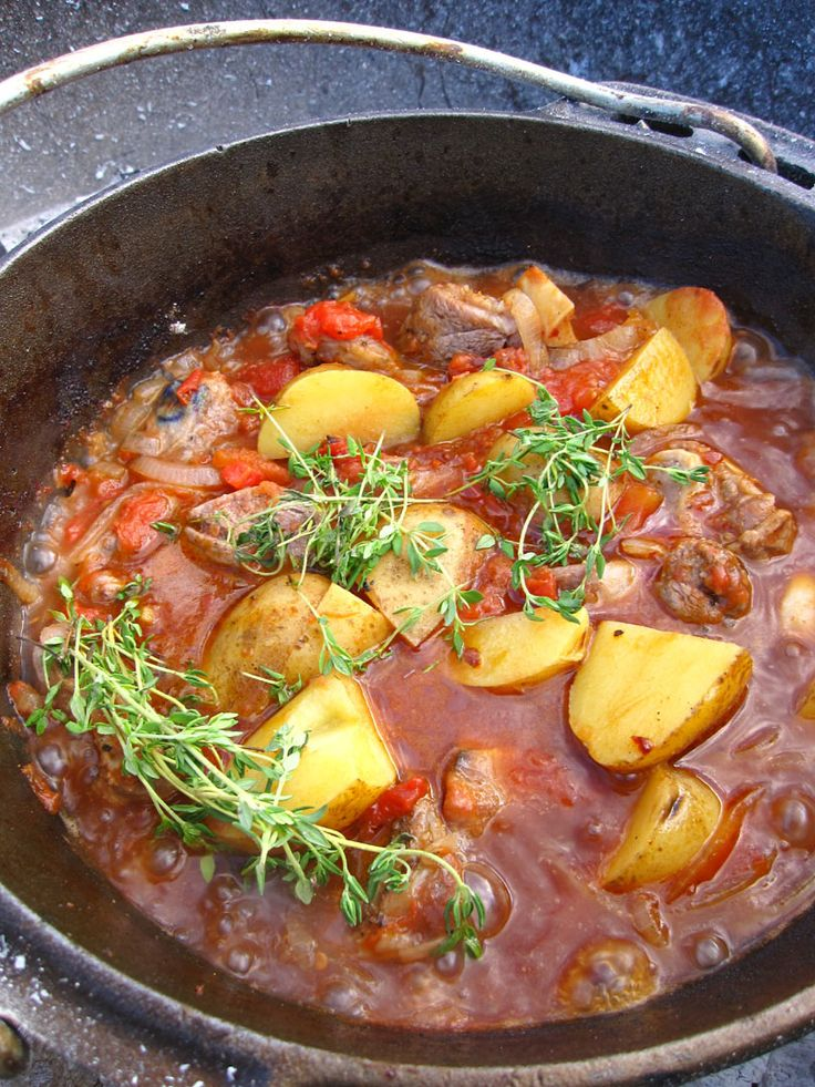 This South African recipe, ' Potjiekos', that uses all of the local ingredients to South Africa, is traditionally an outdoor meal, often prepared in a heavy cast iron pot over a fire. Description from recipechefmaster.blogspot.com. I searched for this on bing.com/images