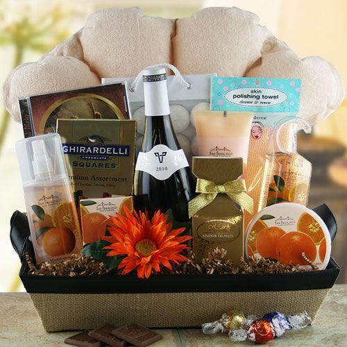 bath gift basket ideas | Bubbles Wine Gift Basket @ Design It Yourself Gift Baskets