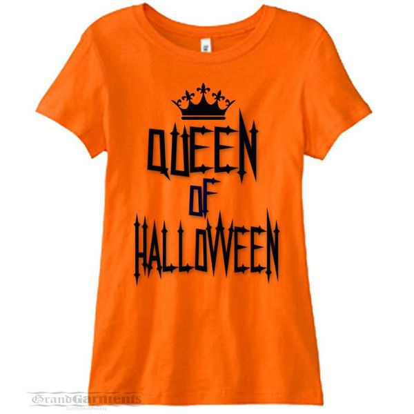 Halloween Shirts For Women, Halloween Queen, Queen of Halloween, Funny... ($16) ❤ liked on Polyvore featuring tops, extra long sleeve shirts, longsleeve shirt, fitted tops, orange top and orange shirt