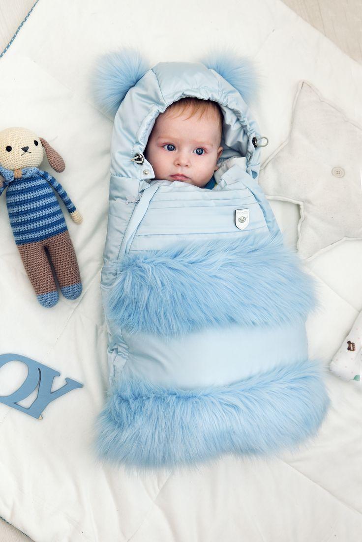 картинка 429.20 Конверт пуховый с меховым декором, голубой Choupette - одевайте детей красиво!