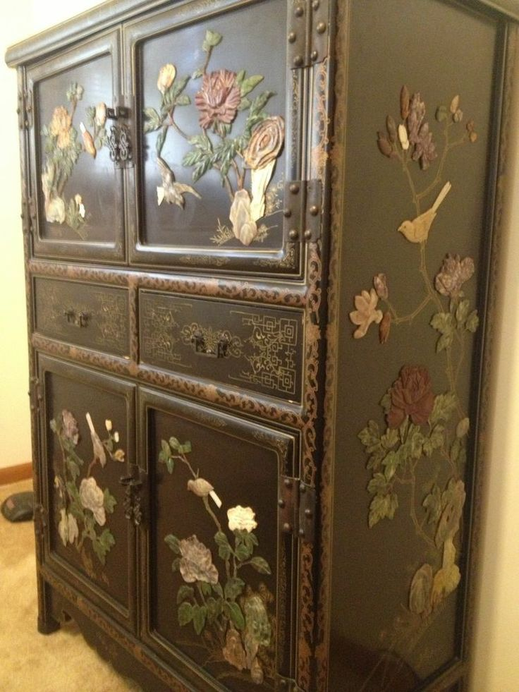 Antique Chinese Qing Dynasty Cabinet Chest Drawers Genuine Jade Carvings Lacquer