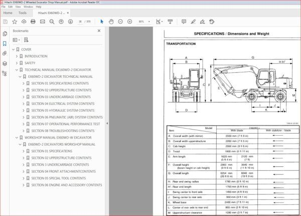 Hitachi Ex60wd 2 Wheeled Excavator Service Repair Workshop Manual Download In 2020 Hitachi Excavator Repair
