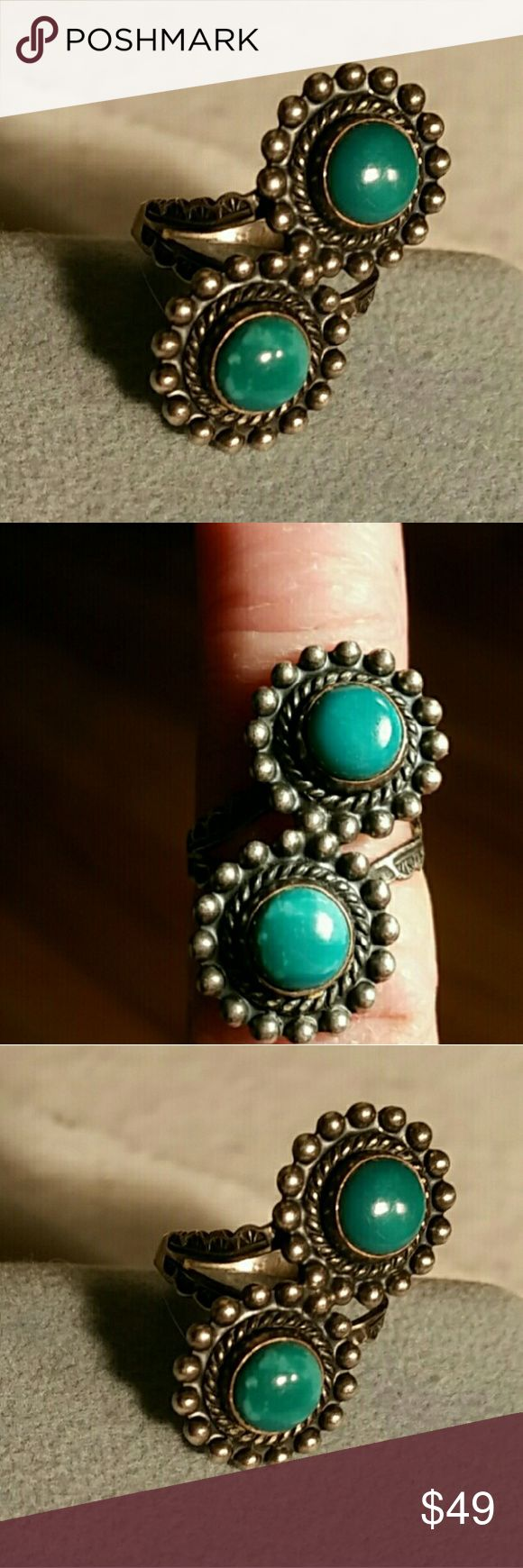 Vintage Sterling Silver Turquoise Ring Sz This beauty dates back to the Fred Harvey era meaning it's from the fifties. The front looks to be in pristine condition the band looks like it's a little hammered but in no way does it hamper it's where. I just want to be sure I am describing it exactly correct Vintage  Jewelry Rings