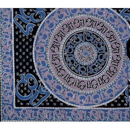 Handmade Cotton Mandala Om Print Tapestry Throw Tablecloth Spread Wall hang Twin 70x106 (Twin), Blue