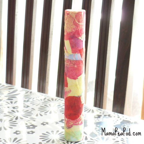 Rainstick:  Cardboard tube, nail in lots of nails at an angle, pour in rice, cover the ends and the nail heads with tape. Decorate.