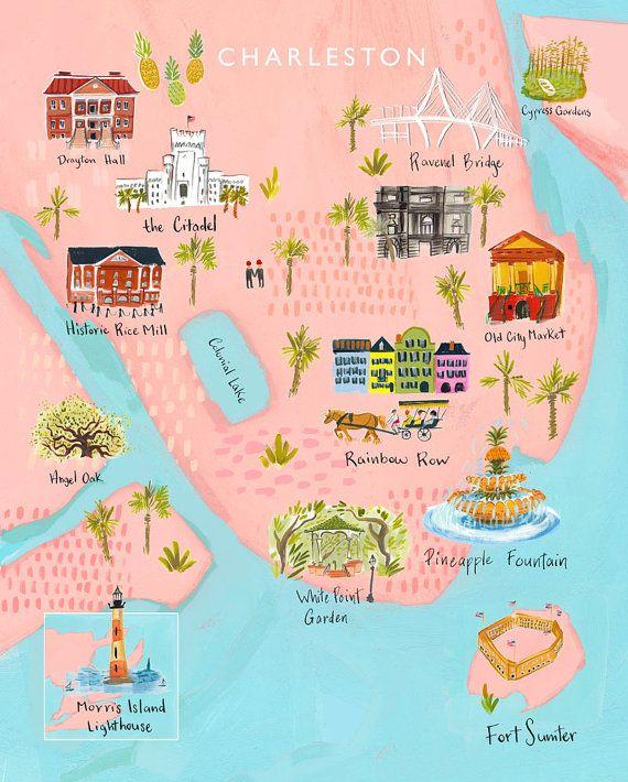 Carte de Charleston dimpression en couleurs profondes, saturées à 100 % de papier recyclé. Caractéristiques Rainbow Row, marché de la vieille