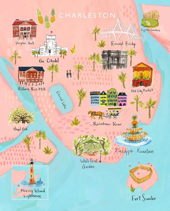 Charleston Map print featuring Rainbow Row, Old City Market, Angel Oak, the Citadel, Pineapple Fount