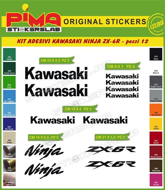 Adesivi Stickers kit KAWASAKI NINJA zx-6r moto di PIMAstickerslab