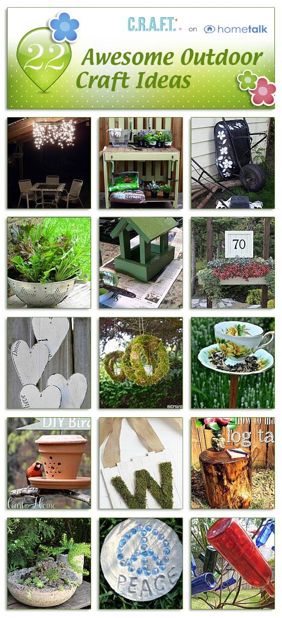 Some great ideas for weekend projects. Check out these outdoor craft ideas!>>