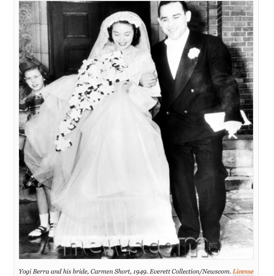 Yogi Berra and his wife Carmen Short on their wedding day 1949: Married Carmen, Vintage Photos, Famous Brides, 1949, Carmen Dell'Orefic, Wife Carmen, Yogi Berra, Berra Married, Carmen Shorts