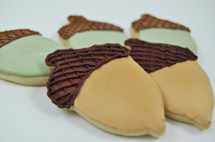 Accorns - Autumn Cookies - Decorated Iced Sugar Cookies - Fall - Forest - Half a Dozen