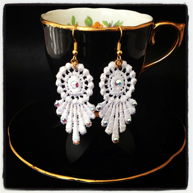 Jewel in a teacup Art Deco Lace 20s inspired Vintage Style Earrings